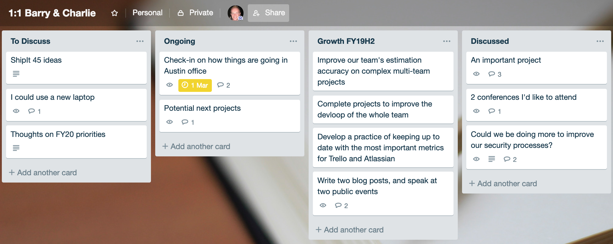 1:1 meeting board in trello