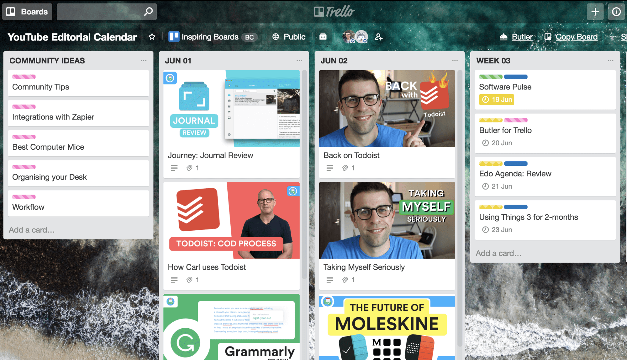 Sample Trello Board for YouTube Editorial Calendar