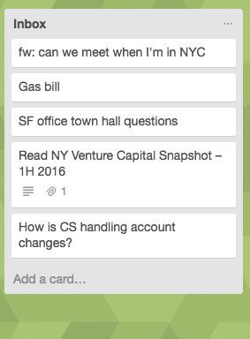 Inbox list in Trello