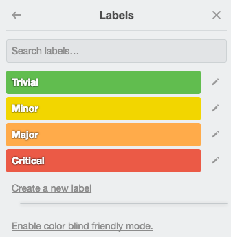 Labels for bug tracker Trello board