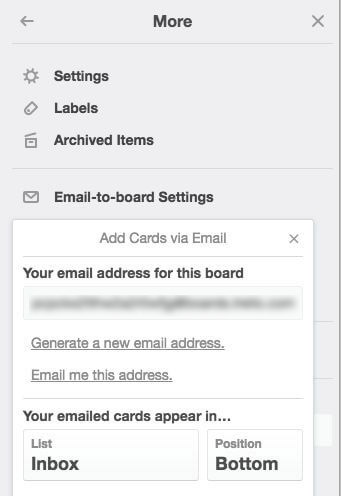 Trello email to board feature