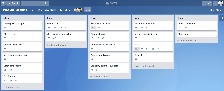 Simple product roadmap board in trello