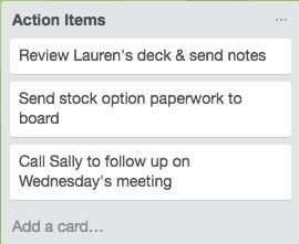 Action Items in Trello