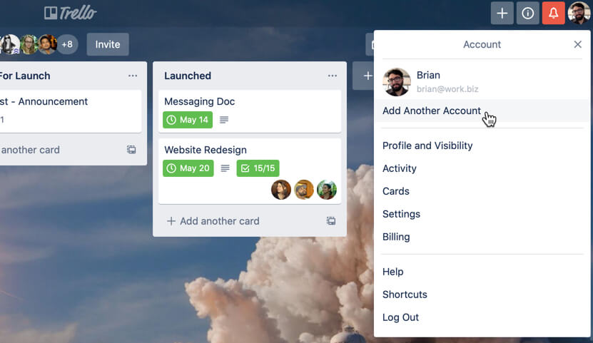 image of how to add another account on Trello desktop