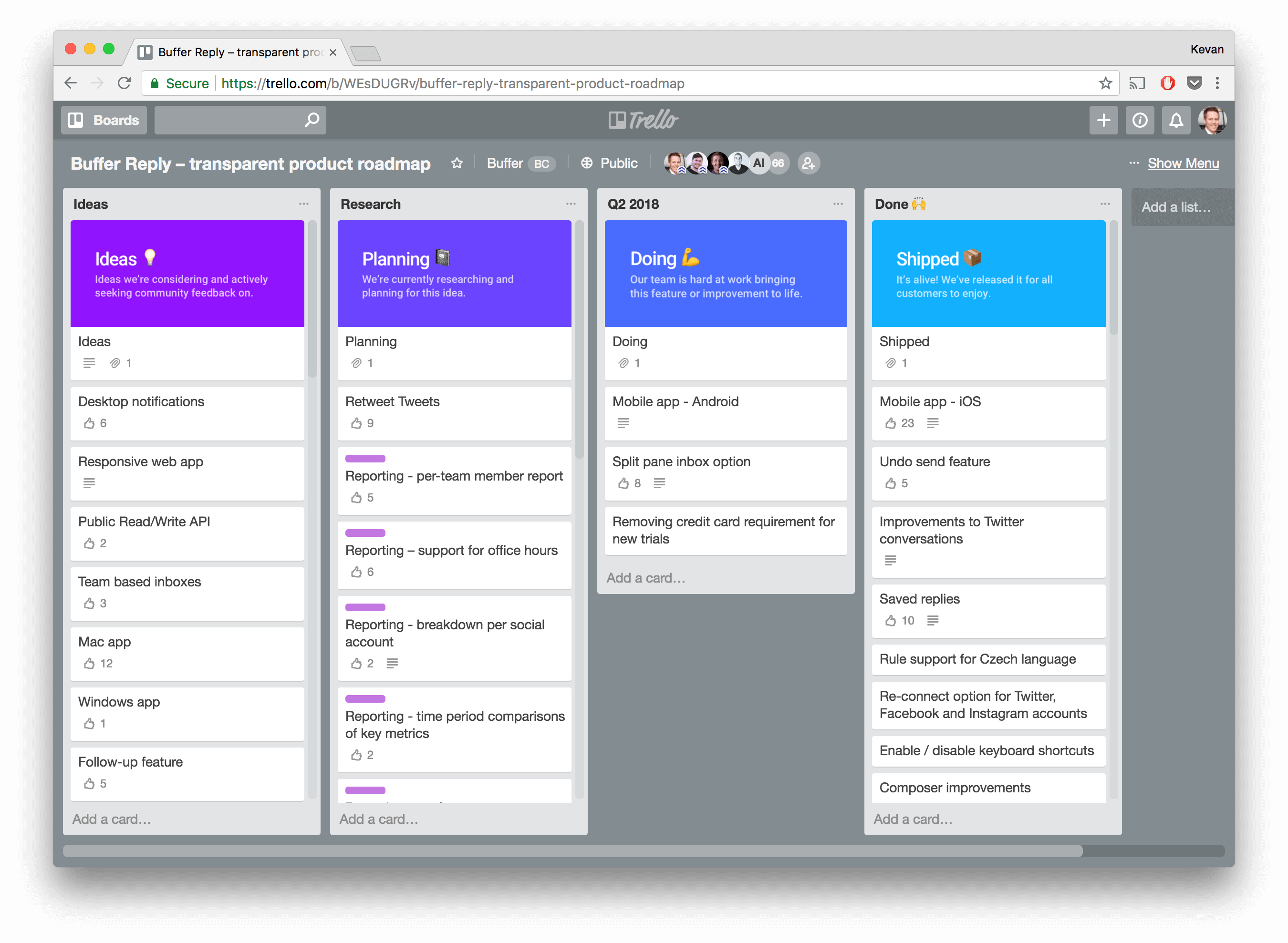 Sample Trello Board from Buffer for Product Roadmap