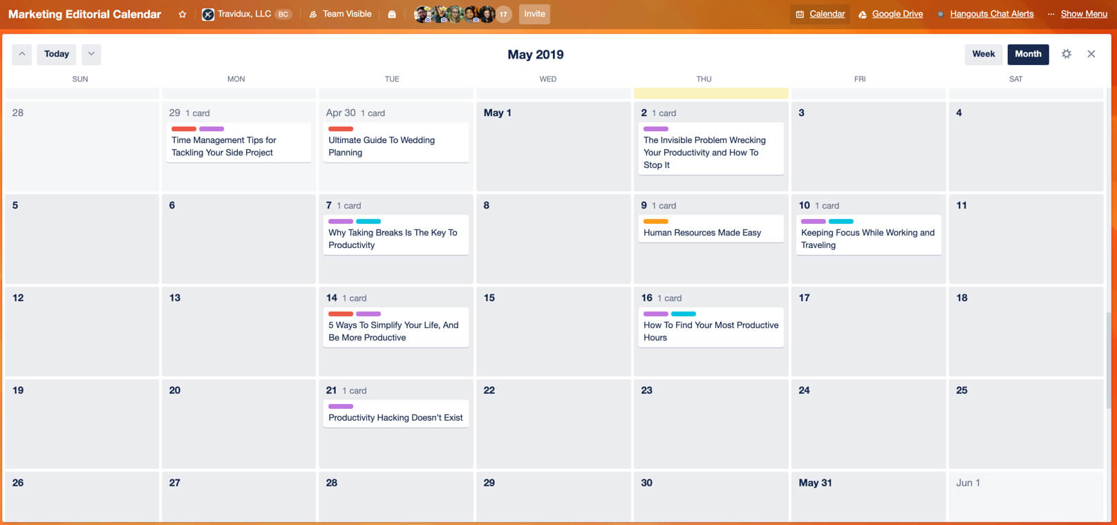 Calendar Power-Up view shows Trello cards by month or week.