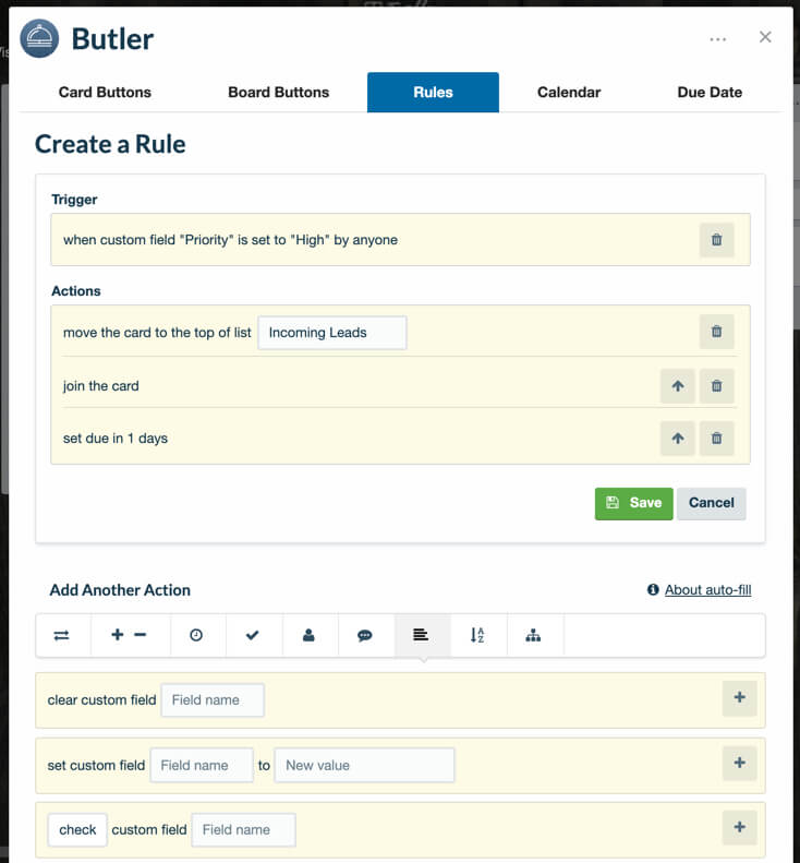 Le power-Up Butler et Trello Business Class : des champs perso connectés