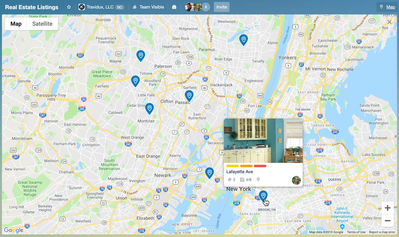 Map-Power-Up view shows Trello cards by location