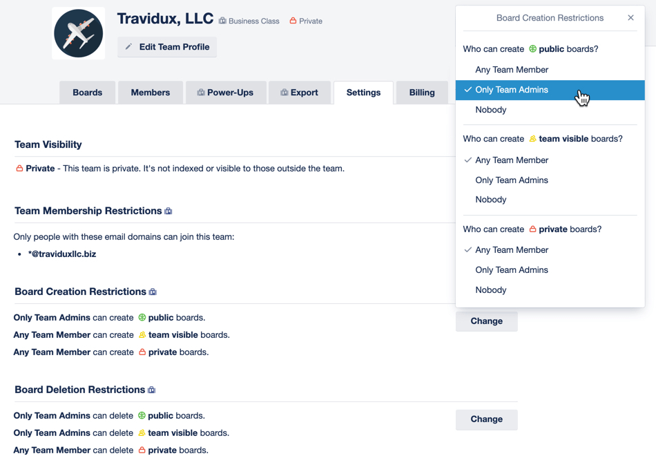 Trello Business Class Admin Settings