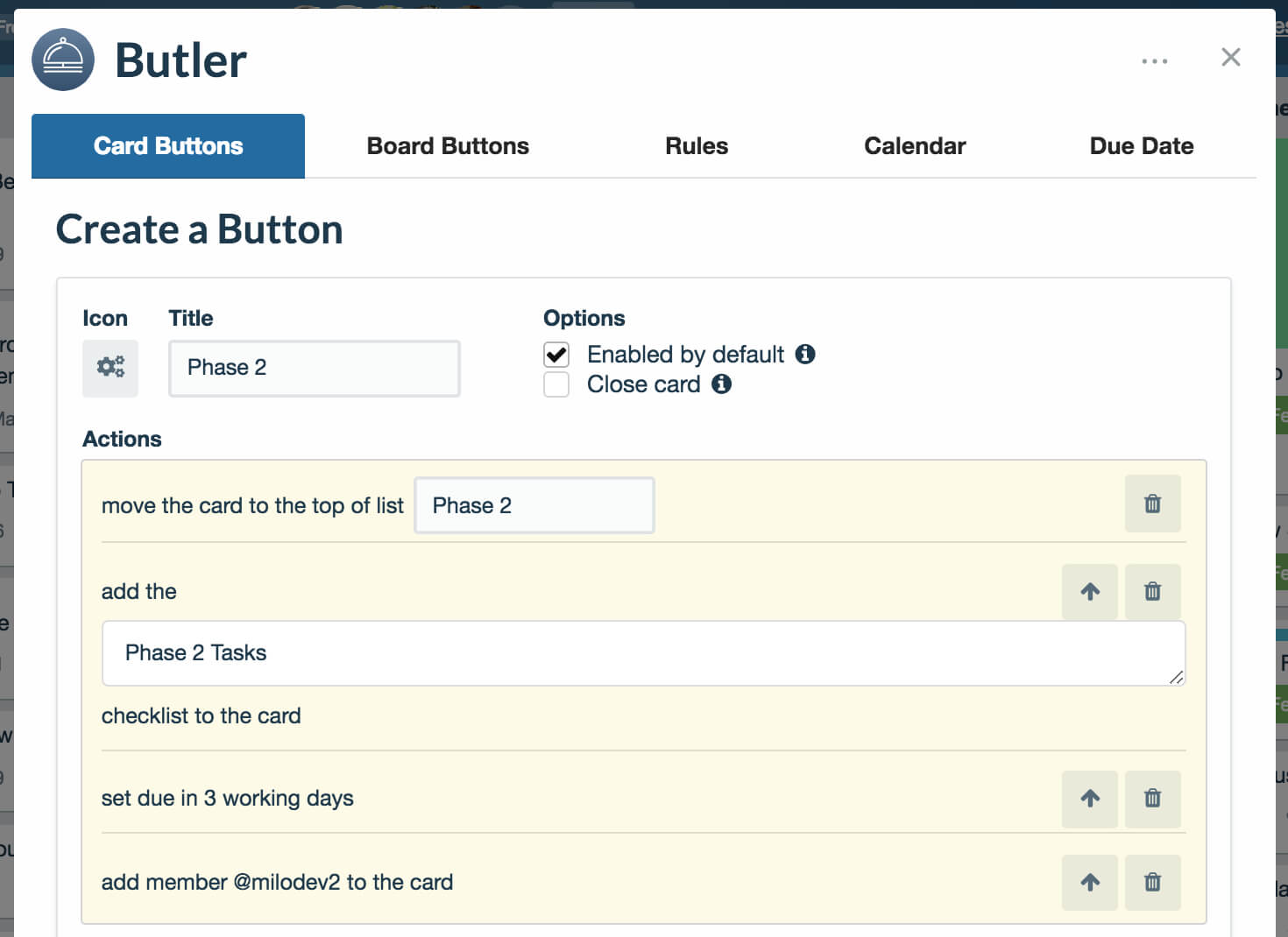 Butler Card Button Setup