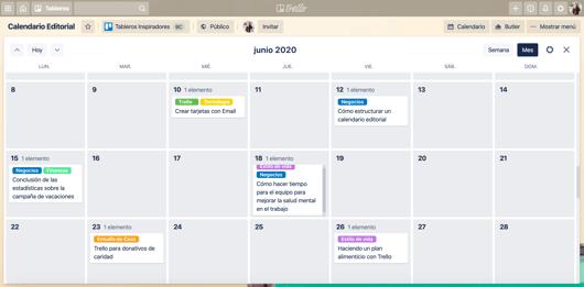 Calendario editorial en vista calendario