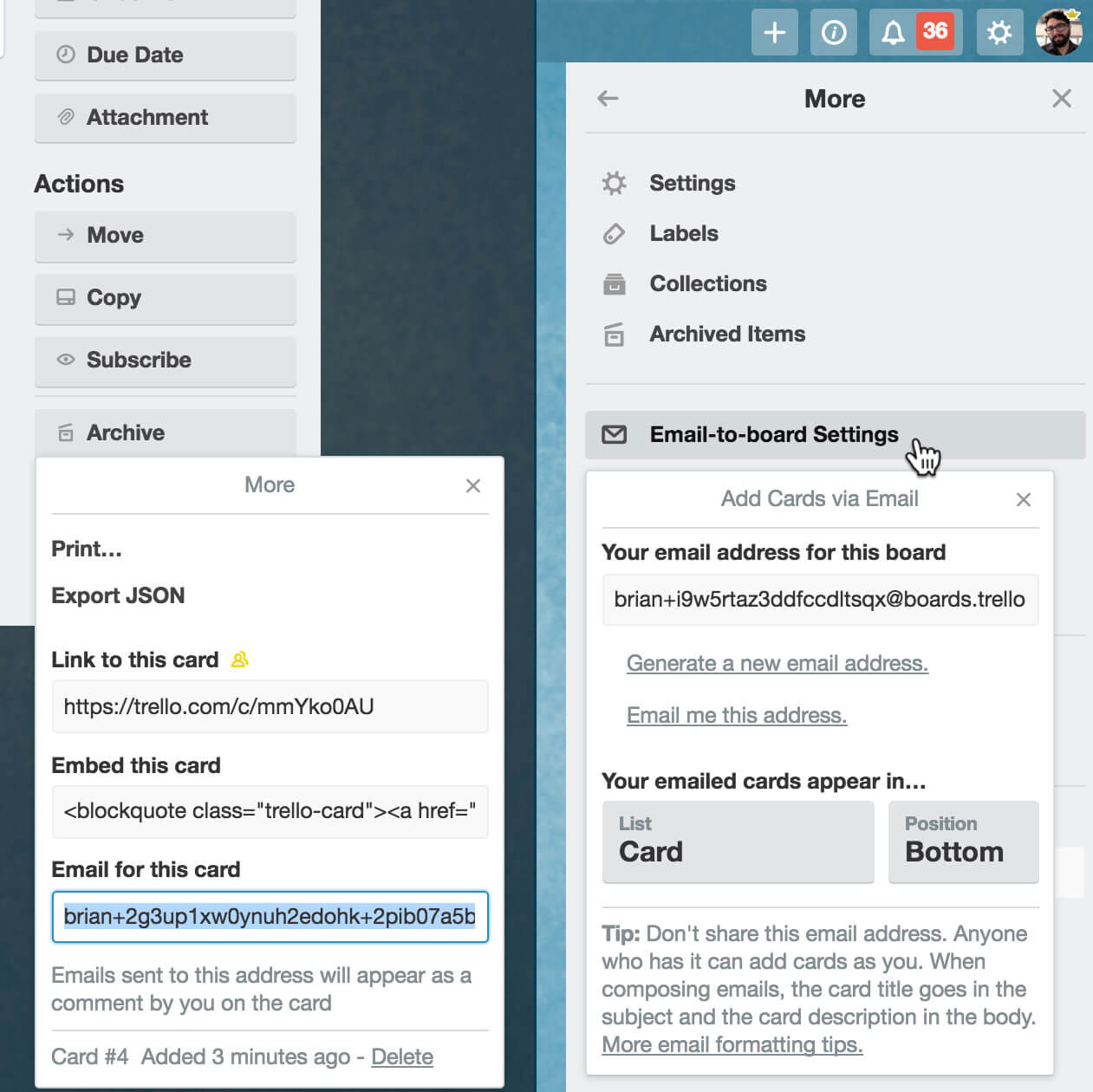 Trello email-to-board settings