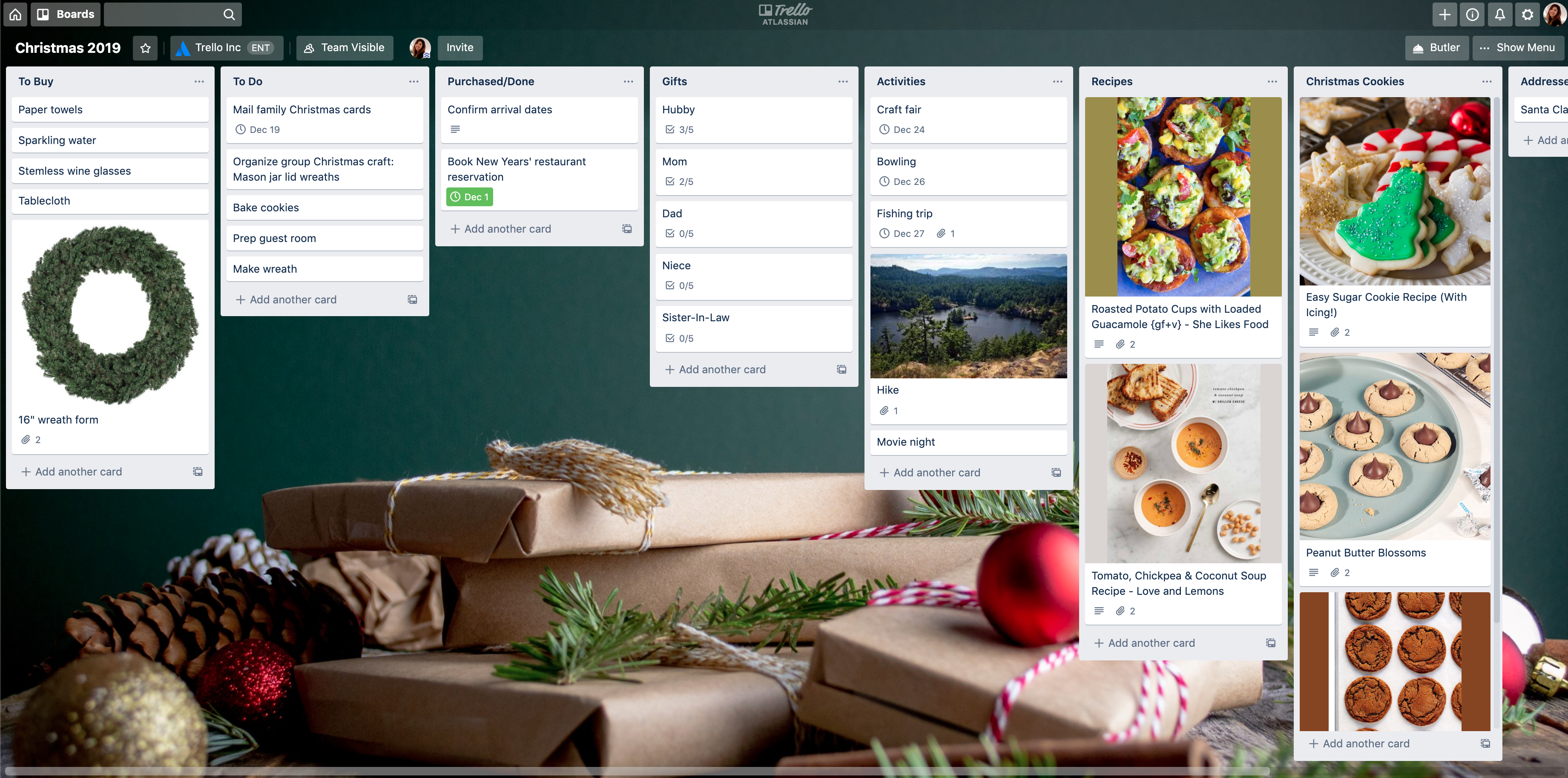 Christmas 2019 Trello Planner Board