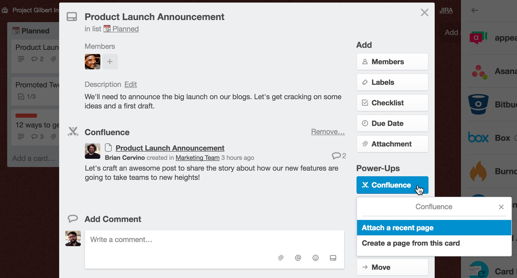 Confluence Power-Up in Trello