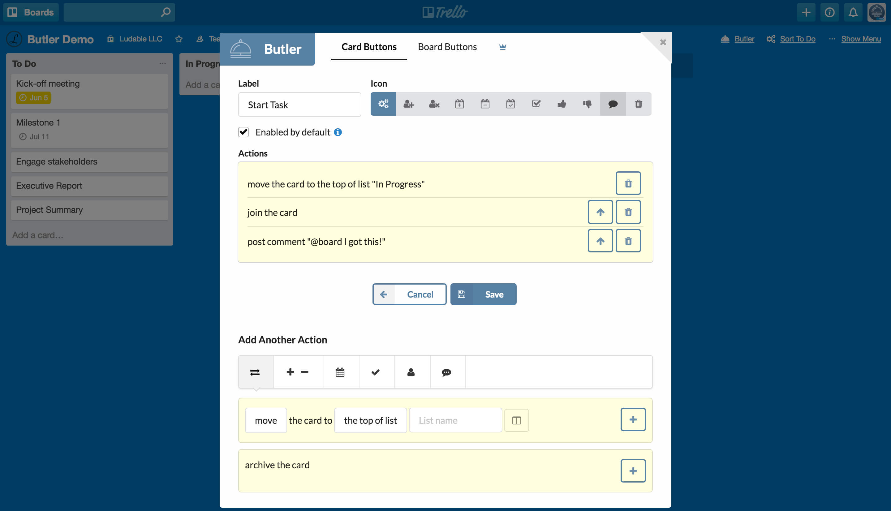 Creating Butler Button For Trello Card