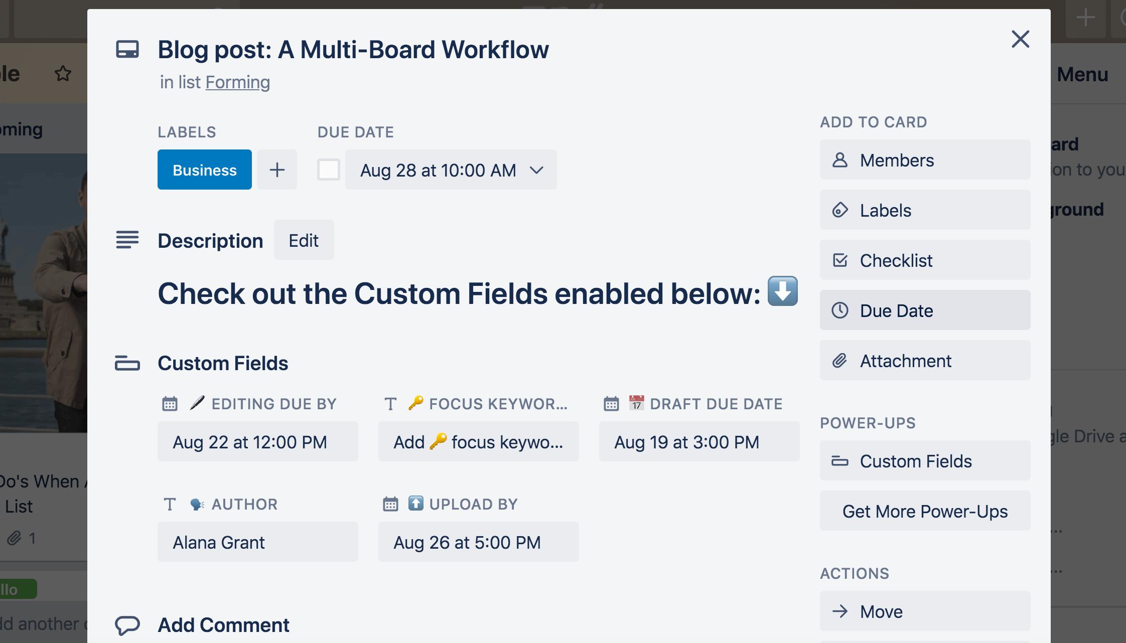 Custom Fields on Trello card back