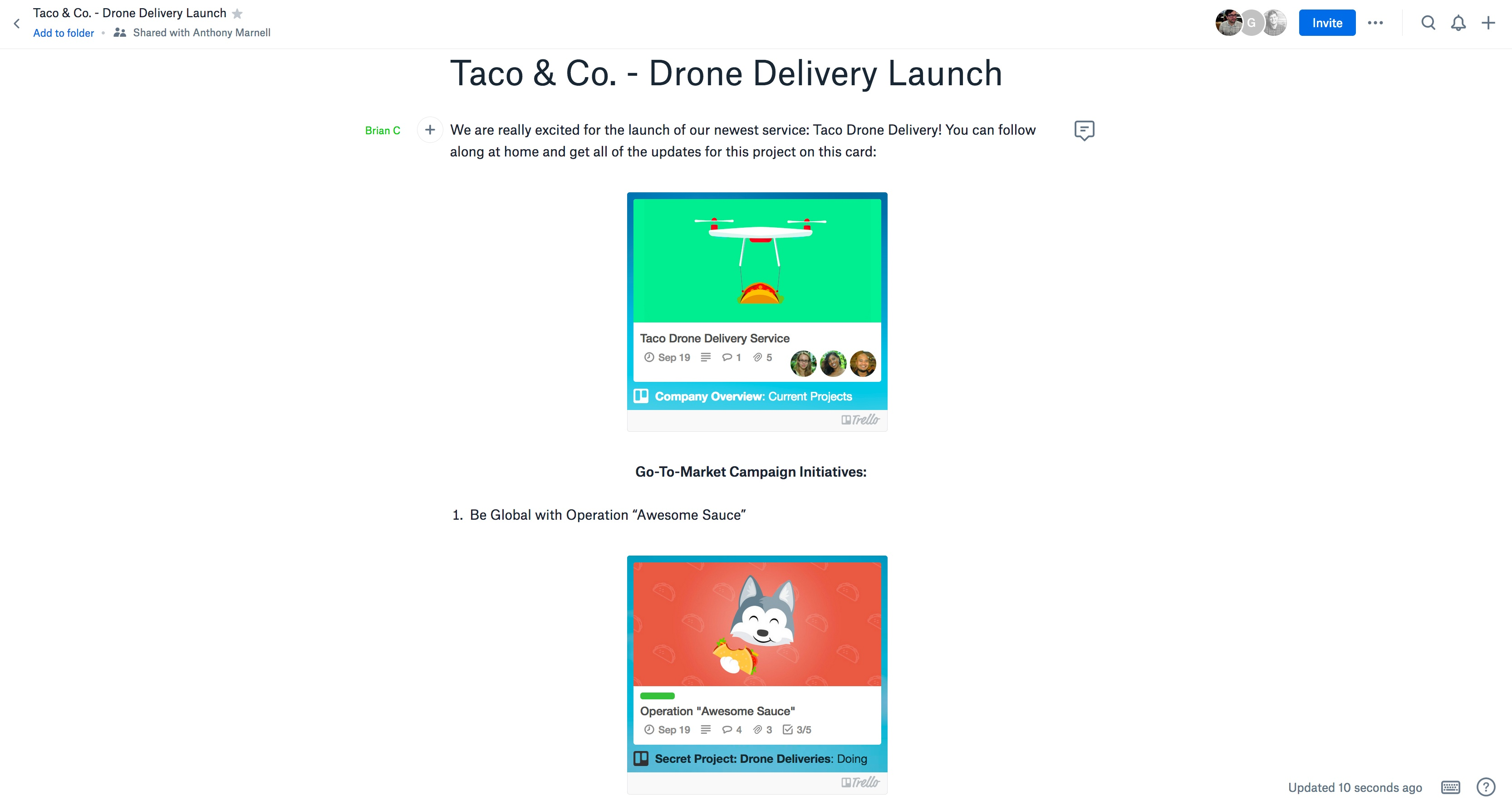Embed Trello cards and boards in Dropbox Paper