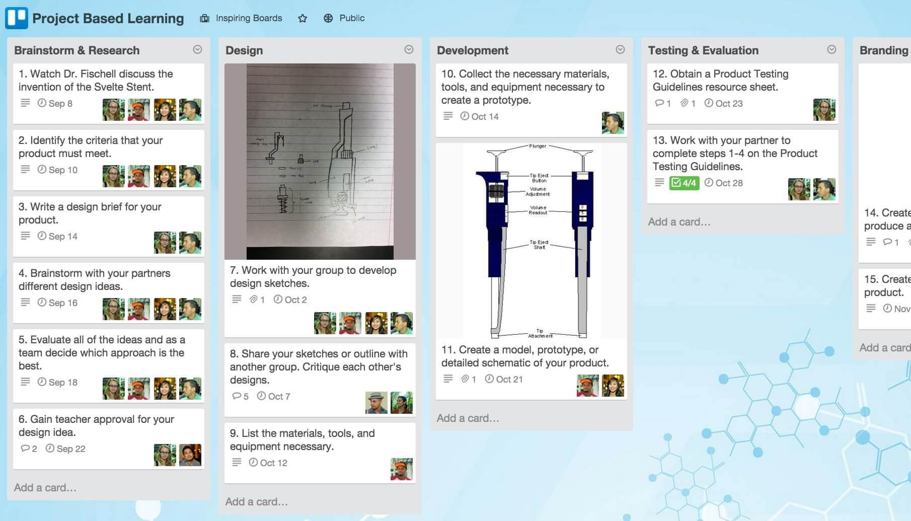 Project-based learning Trello boards