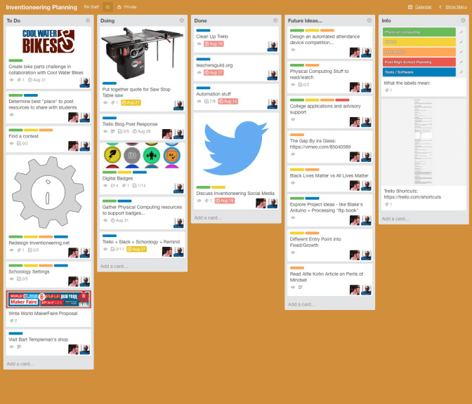 Inventioneering STEM Trello board