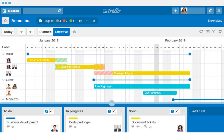 Gantt chart in Trello