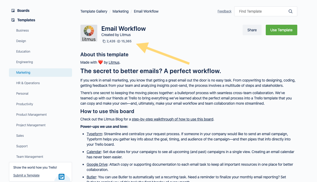 Trello Email Workflow Template Story Page