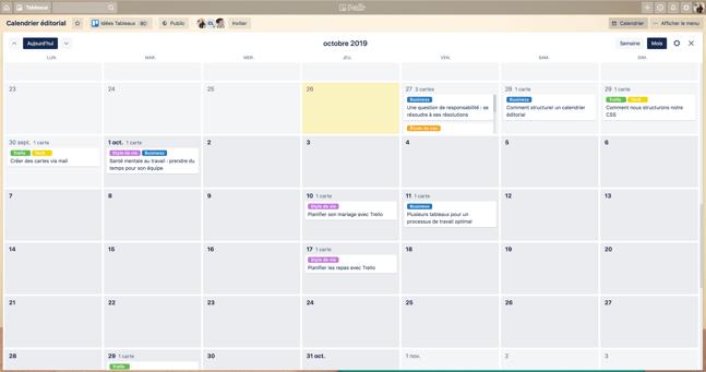 Exemple de calendrier éditorial