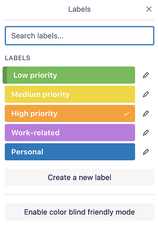 Trello Labels Screenshot