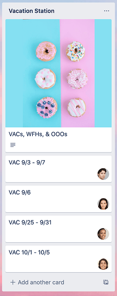 screenshot of Trello list showing how to document vacation days