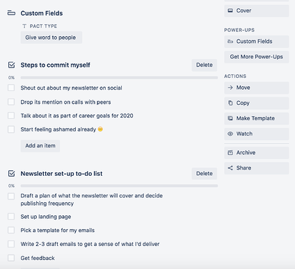 checklists and custom fields in trello