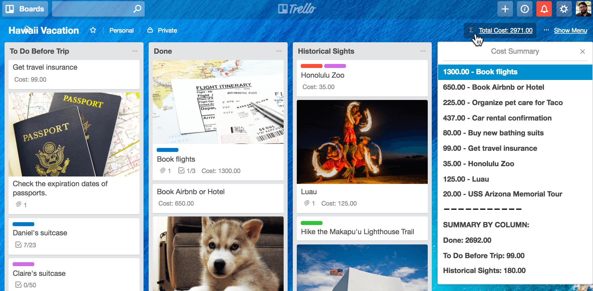 Tracking Expenses in Trello