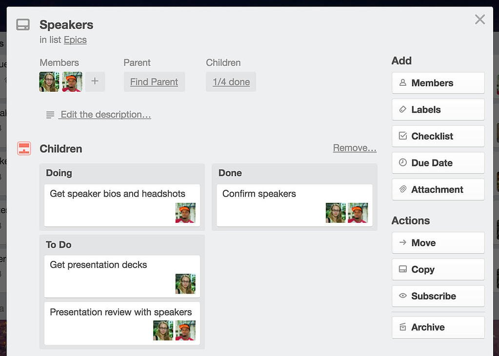 Parent Trello Card Organizes Child Cards