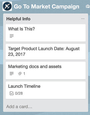 Trello list for marketing campaign