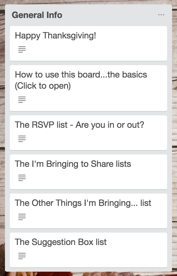 Thanksgiving List And Cards In Trello