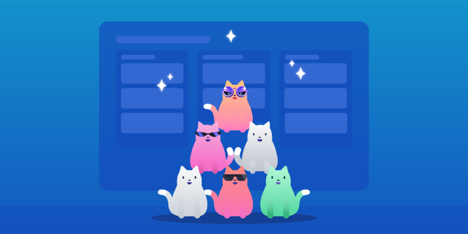 Cat team in a pyramid graphic