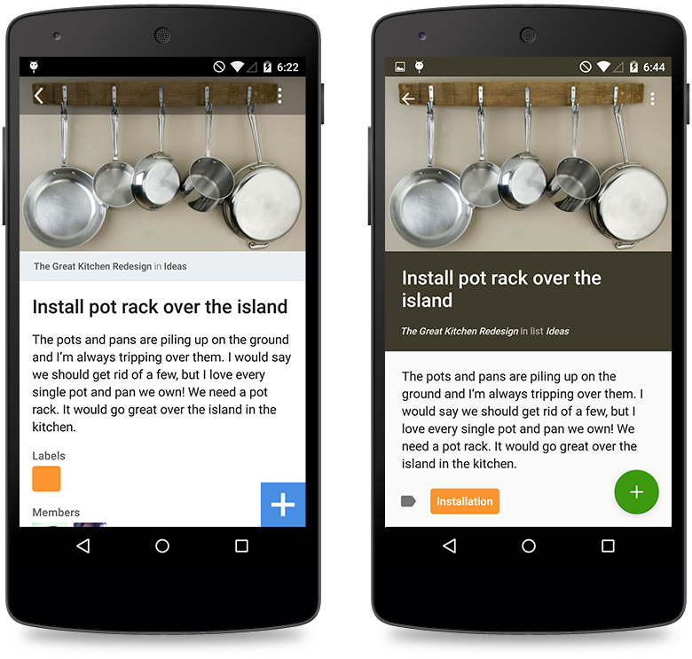 Trello for Android: before and after.