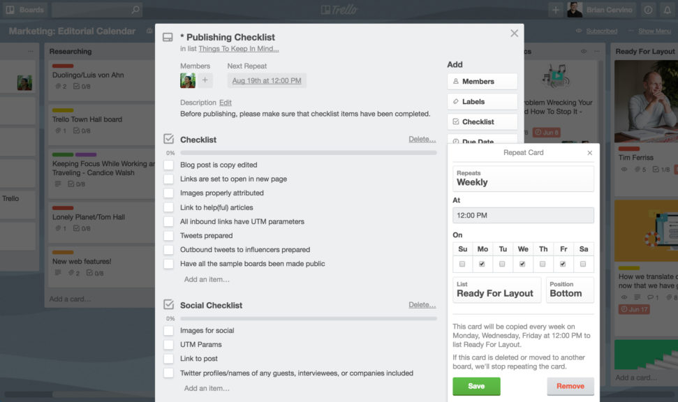 Trello Card Repeater for Content Marketing, Blog Publishing Checklist