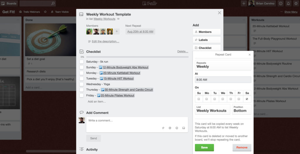 Trello Card Repeater for Workout Planning