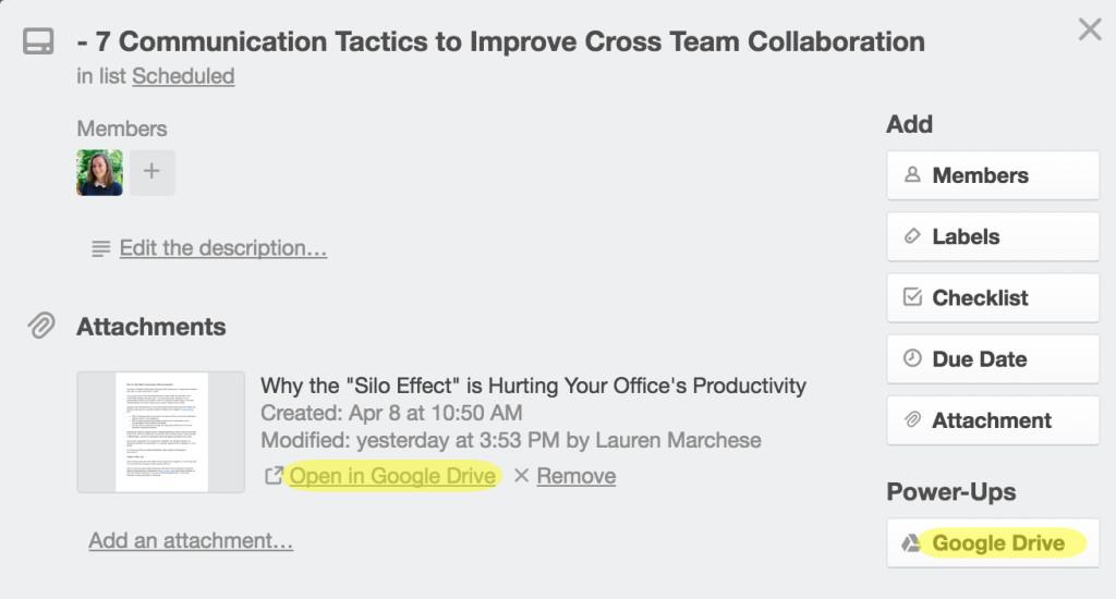 Google Drive in Trello for team collaboration