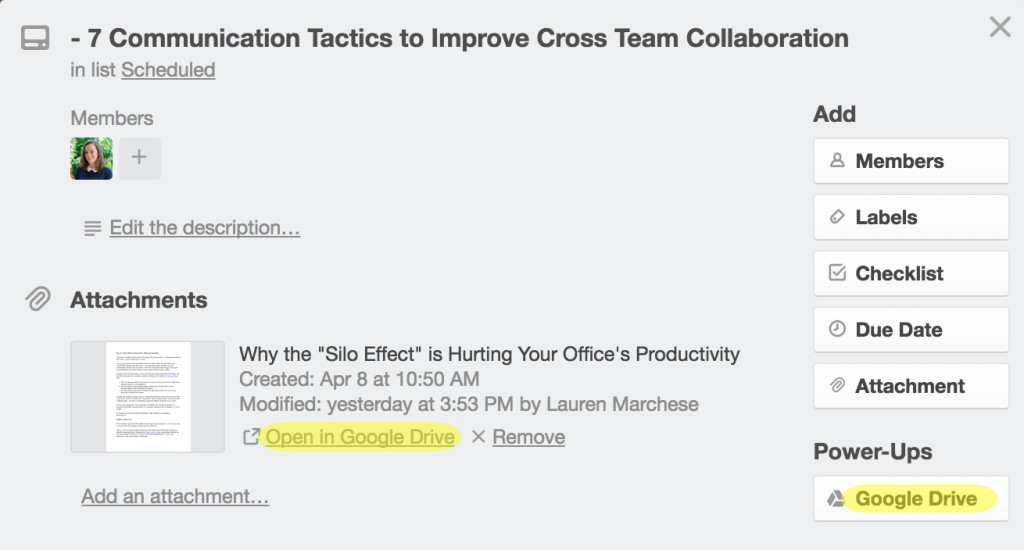 Google Drive in Trello for team collaboration
