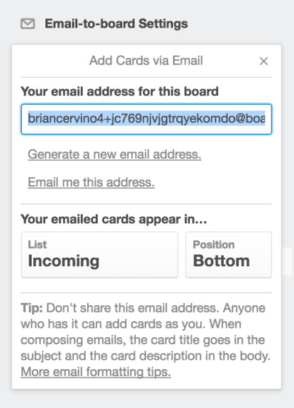 Trello Email to Board Settings