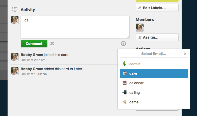 How to use emoji in Trello