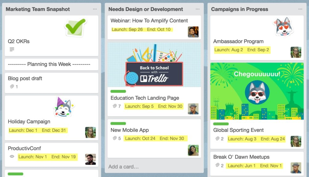 Trello Custom Fields for Marketing Campaigns