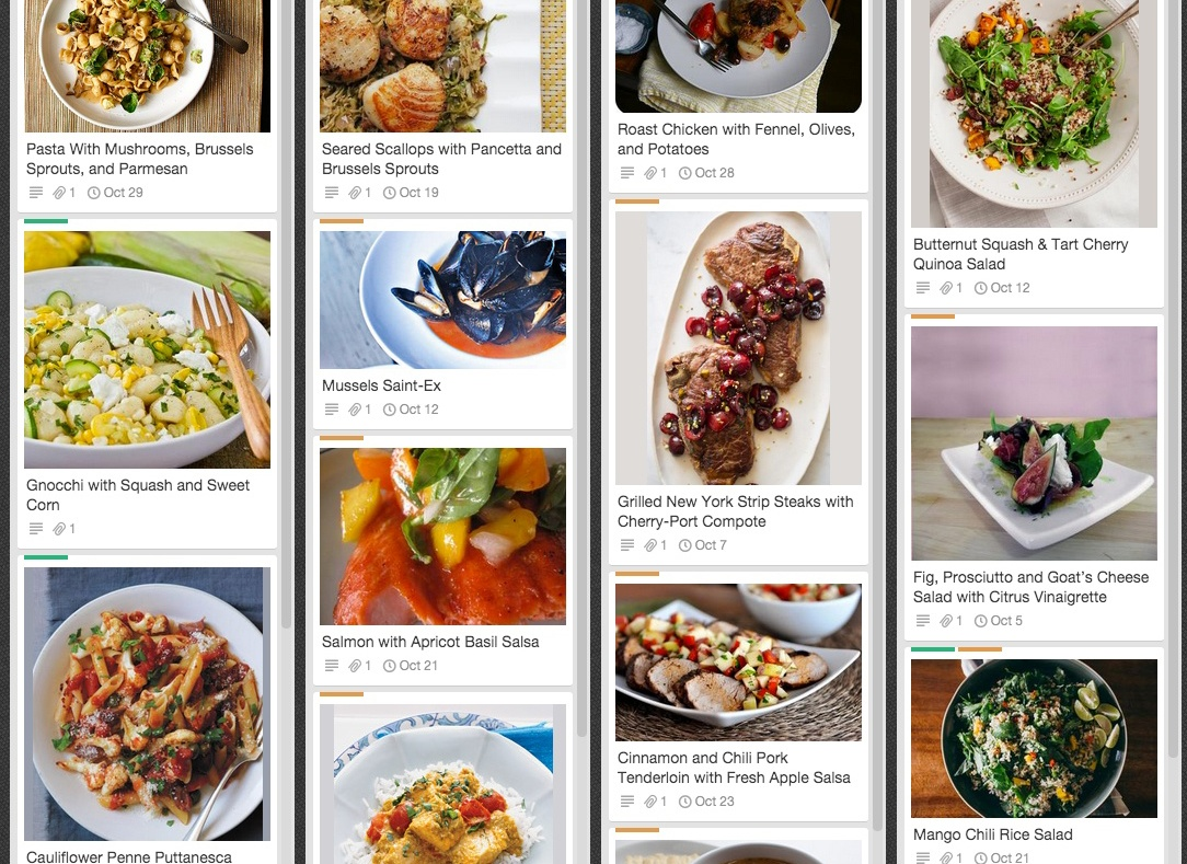Trello Meal Planning Board