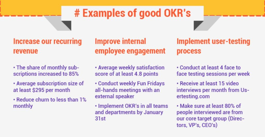 Image result for personal okr examples