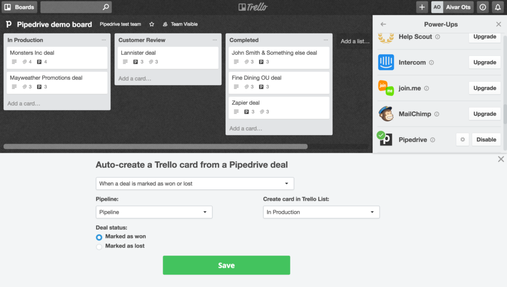 Pipedrive Power-Up for Trello