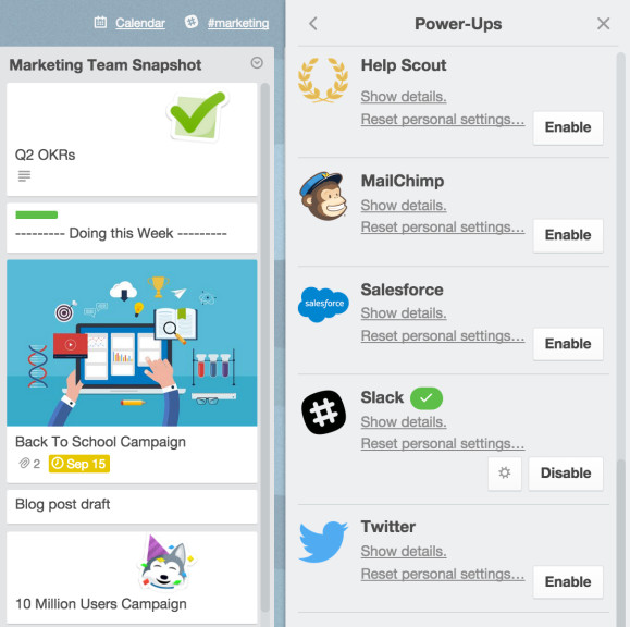 Trello Business Class Power-Ups Menu