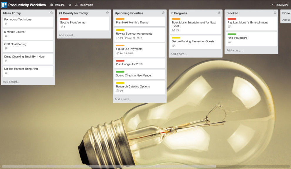Productivity Sample Trello Board