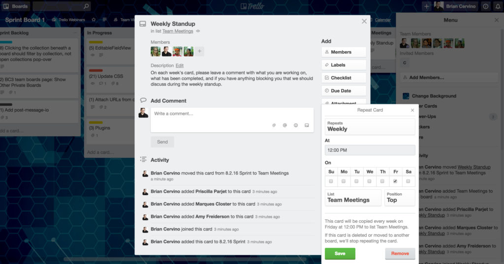 Trello Card Repeater for regular meeting reminders.