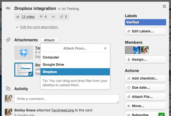 Trello Dropbox integration