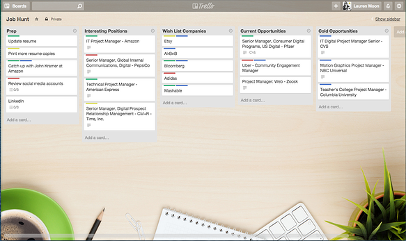 Tips for using Trello: Job applications, job searcg